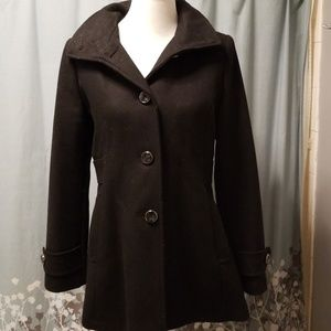 Kenneth Cole Removable Hood Wool Coat